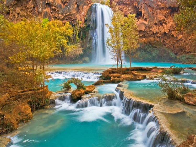 Havasu Falls and cascades in autumn. On the Havasupai Indian Reservation in northern Arizona.